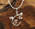 KOA Wood inlaid Sterling Silver Gecko Pendant