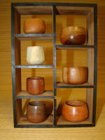Koa Wood Miniature Bowls in display frame