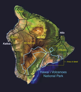 Map of the Island Of Hawaii Showing Location of Hawaii Volcanoes National Park
