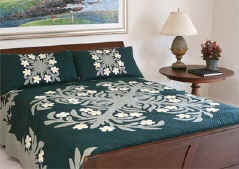 Plumeria Hawaiian Quilt Bed Spread