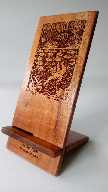 Koa Wood Cell Phone Stand / Holder with engraved