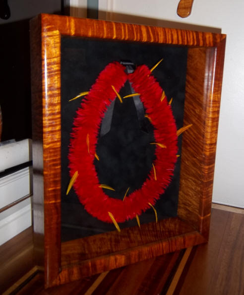 Hawaiian Quilted Wall Hanging With Koa Wood Frame