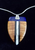 Necklace with fancy curly Koa Wood made in Hawaii