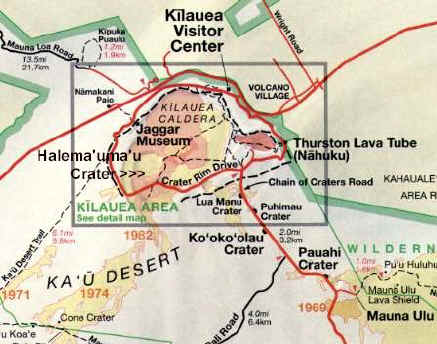Kilauea Area Map Kilauea Volcano Hawaii
