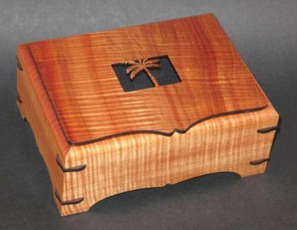 Koa wood treasure boxes solid top Turtle Honu or Dolphin